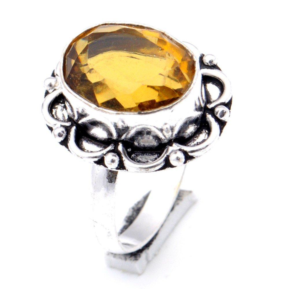 Yellow Citrine Quartz Sterling Silver Overlay Ring Size 7.75 US Designer Handmade Jewelry