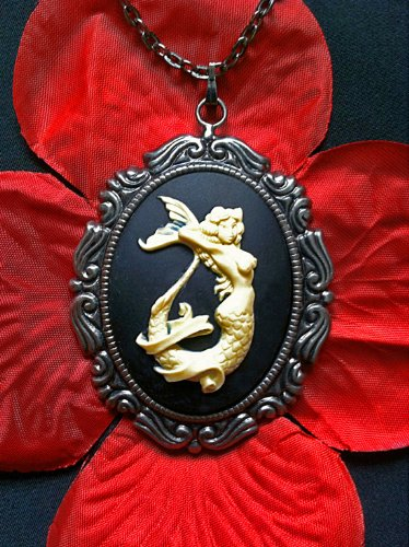 Gothic Steampunk Lady Ness Siren Mermaid Cameo Charm by Thompson Emporium