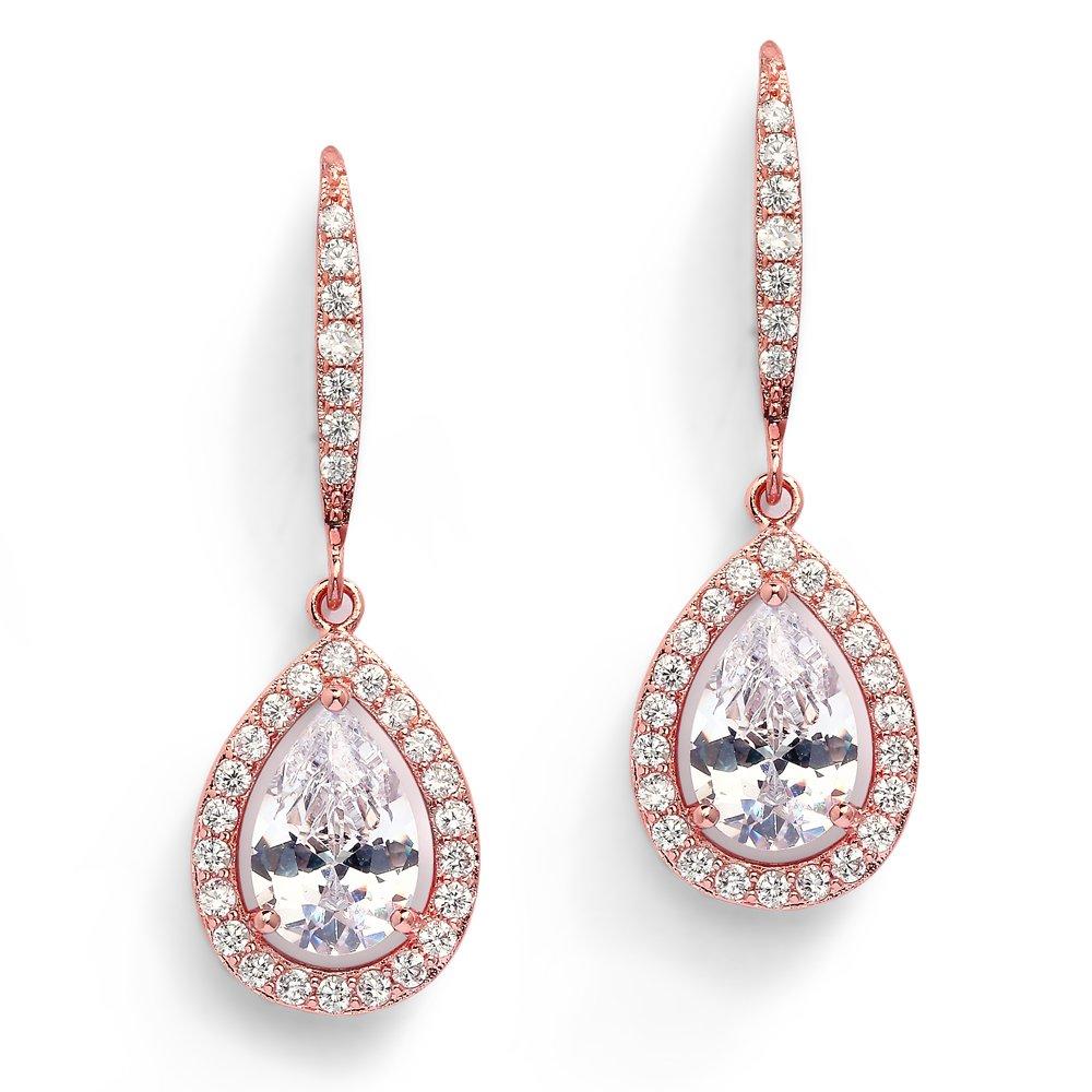 Mariell Pear-Shaped CZ Bridal Wedding Teardrop Earrings - Real 14k Rose Gold Plated Jewelry