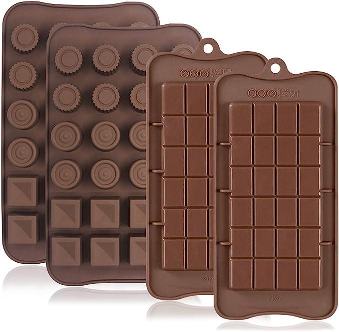 FineGood 4 moldes de silicona antiadherentes para chocolate, proteína y barra energética, bandeja para cubitos de hielo, molde para hornear