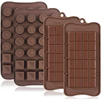 4 Pcs Silicone Chocolate Molds, Non-Stick Break-Apart Protein and Energy Bar, Ice Cube Tray Candy Mold Kitchen Baking…