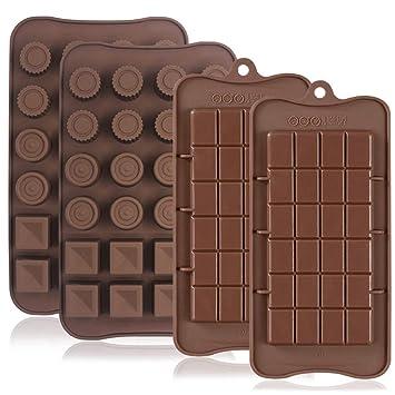 4 moldes de silicona para chocolate, antiadherentes, antiroturas, proteínas y barra de energía, bandeja para cubitos de hielo, molde para dulces, ...