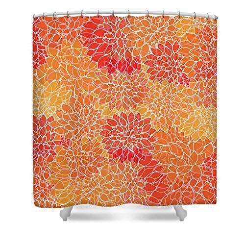 Shower Curtain | Custom Photo Art Shower Curtain | Chrysanthemum Shower Curtain | Vibrant Floral Shower Curtain | Floral Print | Coral & Orange | New Home Gift | Custom Bath