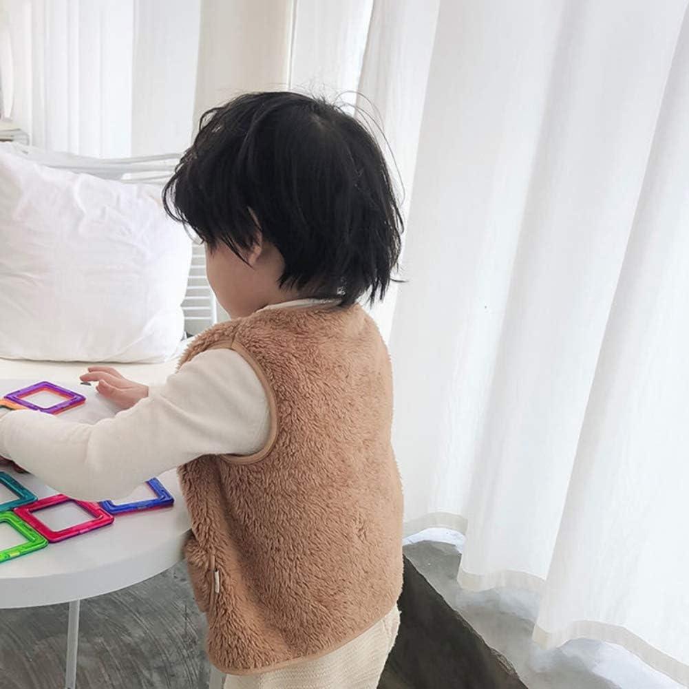 Miyanuby Cappotto in Peluche Tinta Unita per Bambina da Ragazzo Cappotto in Pelliccia Sintetica Gilet Cappotto Invernale in Pile Caldo Cappotto