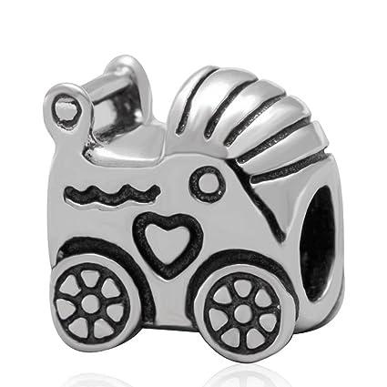 Madre día regalo cochecito de bebé encanto genuino 925 plata de ley Bead para pulseras de