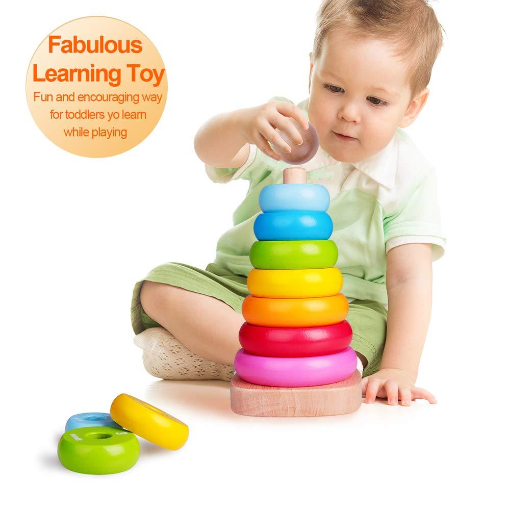 Rainbow Tower Juguetes de Madera Rainbow Stacking para beb/és y ni/ños peque/ños Juguete apilador de Anillo de Madera para beb/és