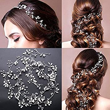Beauty7 Bridal Hair Pins Set,,Vine Hair Pin, Comb Pearl Rhinestone Crstal Hair Pins, Handmade Wedding Headband, Wedding Leaf Flower Hair Clip, Bridal Headpieces Bridesmaid and Flowergirls, Wedding Accessories for Women and Girl (Silver)