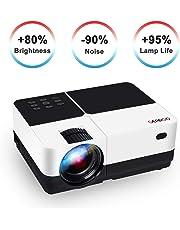 GEARGO Proyector Portátil Video Proyector 1080P Full HD, Vida útil de 50,000 Horas, Proyector Cine en Casa Compatible con PC Smartphone Tablet HDMI VGA AV SD USB