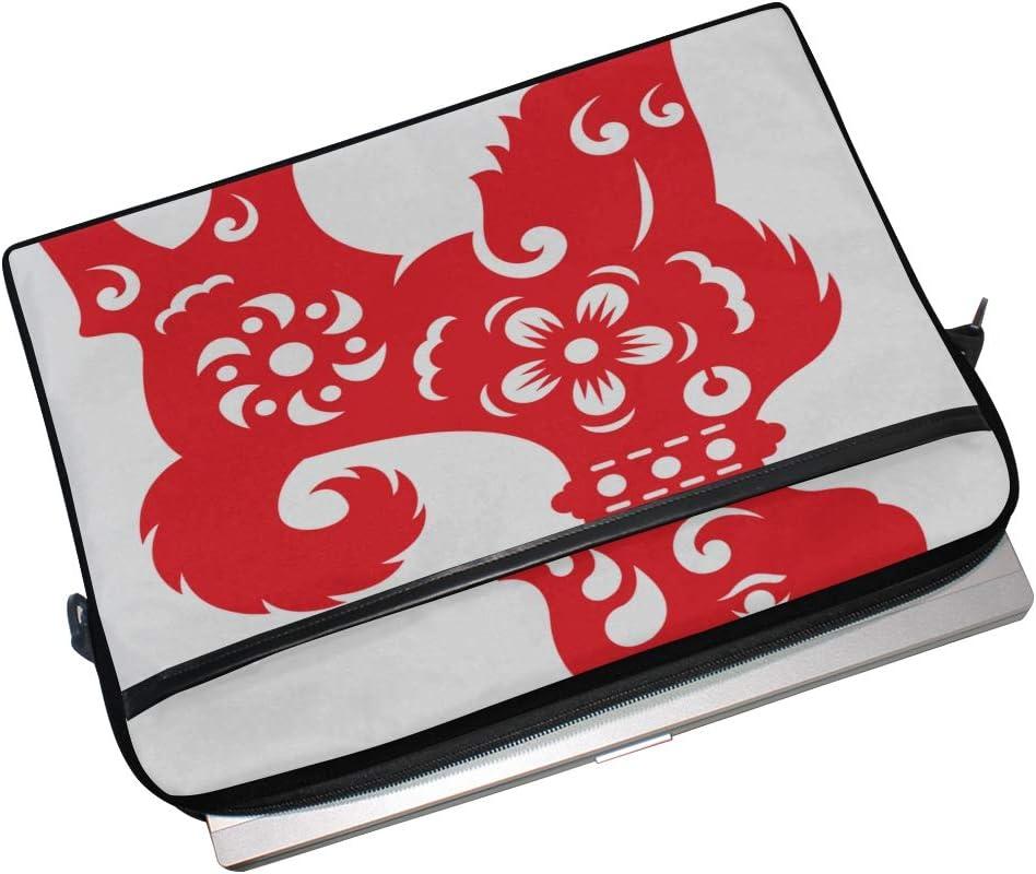 Briefcase Messenger Shoulder Bag for Men Women Laptop Bag Red Paper Cut Dog Zodiac Flower 15-15.4 Inch Laptop Case College Students Business People