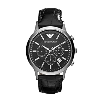 f43b8dd16990 Image Unavailable. Image not available for. Color  Emporio Armani Men s  AR2447 Dress Black Leather Watch