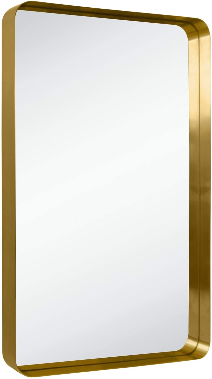 Amazon Com Tehome 24x36 Brushed Gold Metal Framed Bathroom Mirror For Wall In Stainless Steel Rounded Rectangular Bathroom Vanity Mirrors Wall Mounted Home Kitchen