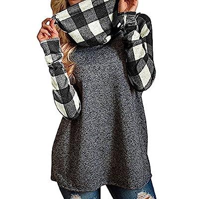 HOSOME Women Turtleneck Tops Plaid Shirts Tunic Long Sleeve Pullover Sweatshirt