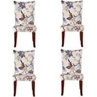 Soft Spandex Fit Stretch Short Dining Room Chair Covers with Printed Pattern, Banquet Chair Seat Protector Slipcover for Hone Party Hotel Wedding Ceremony