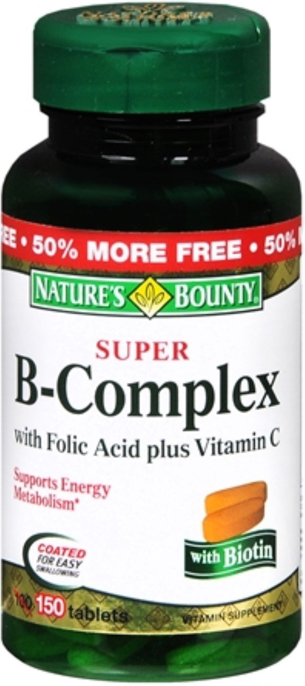 Nb Super B Complx &C Size 100ct Natures Bounty Super B-Complex W/ Folic Acid Plus Vitamin C Tablets 100 Ct
