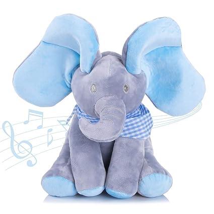 Aideal Elephant Peluche Musical Peek A Boo Jouets D Eveil Peluche Animee Pour Bebe Nourrisson Cadeau D Anniversaire Enfan Bleu