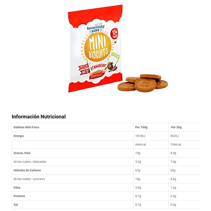 Heavenly Tasty Galletas Mini de Fresa 30g Pack de 3: Amazon.es: Alimentación y bebidas