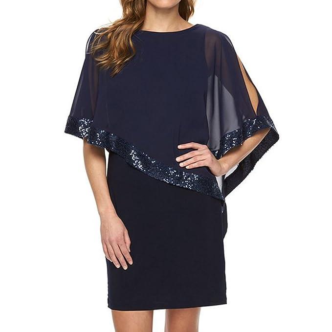 Juleya Vestidos Mujer Vestido Lentejuelas Glitter Vestido de a Rodilla O Cuello Patchwork Vestidos Oficina Trabajo