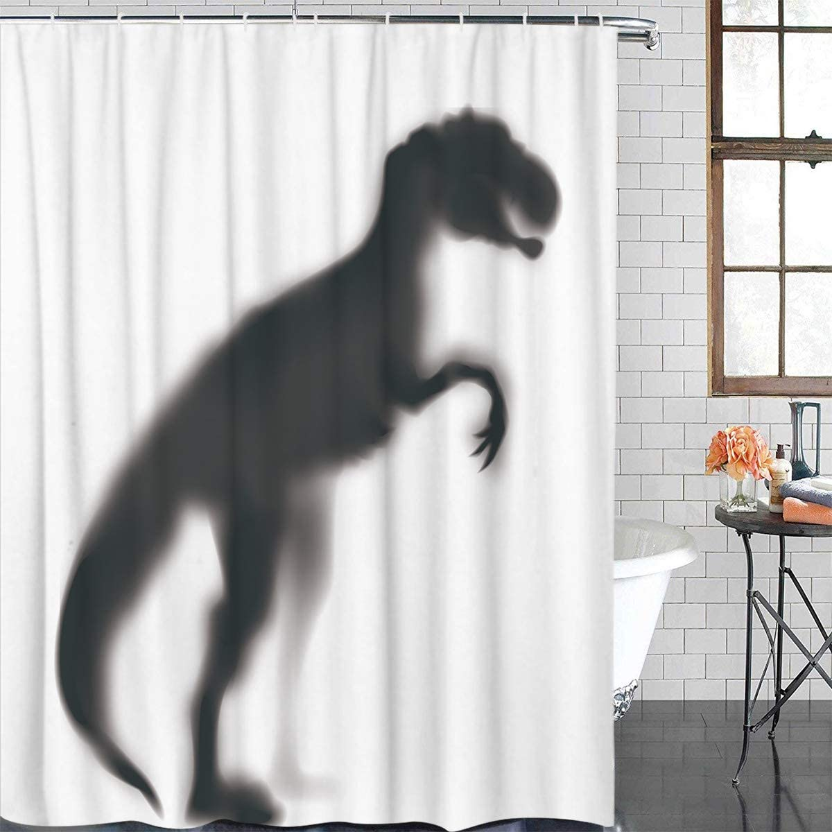 Z&L Home Funny Dinosaur Shadow Kids Shower Curtain Jurassic Animal Silhouette Bath Tub Hotel Curtains Durable Fabric Waterproof Bathroom Accessories Set with Hooks