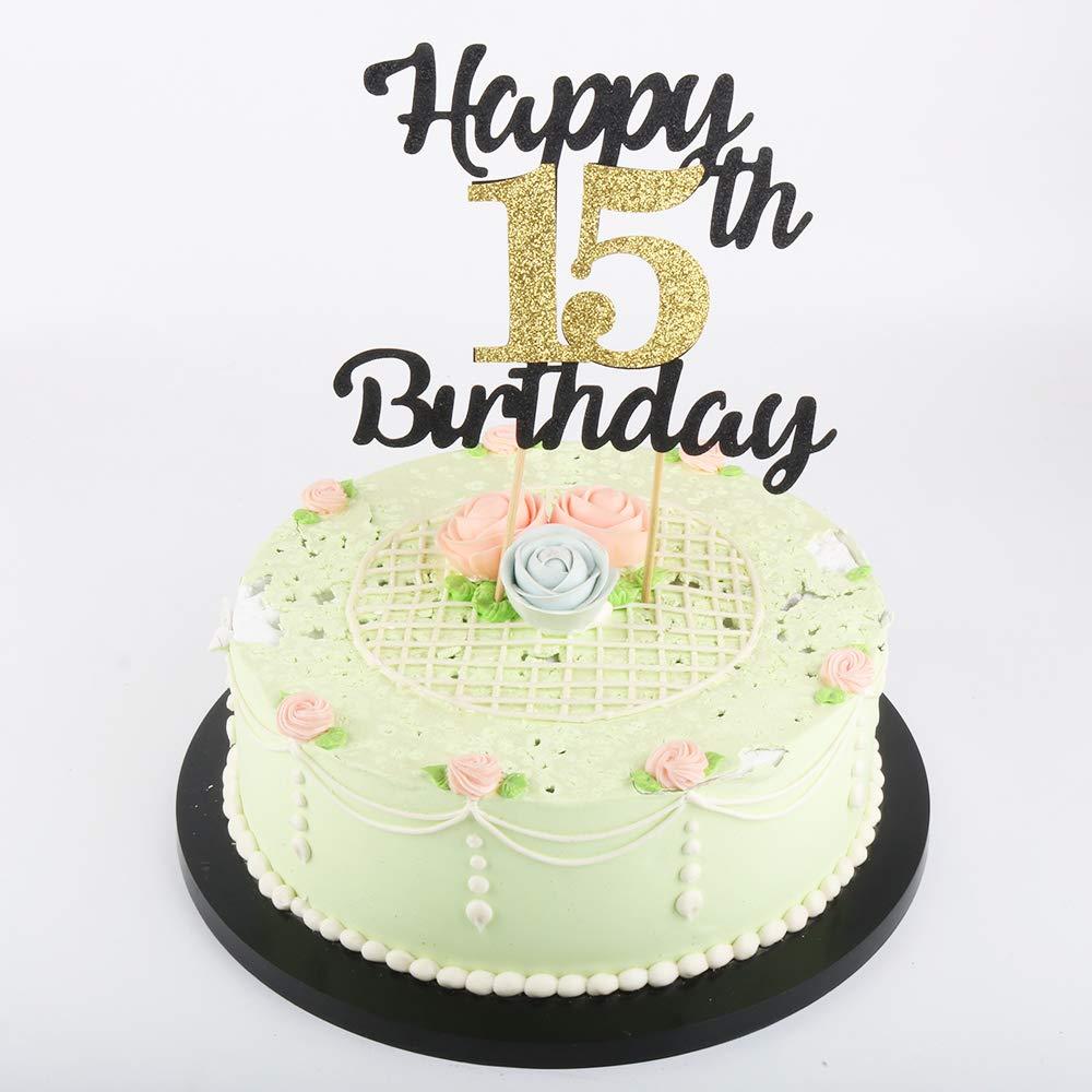 Prime Lveud Happy Birthday Cake Topper Black Font Golden Numbers 15Th Funny Birthday Cards Online Amentibdeldamsfinfo