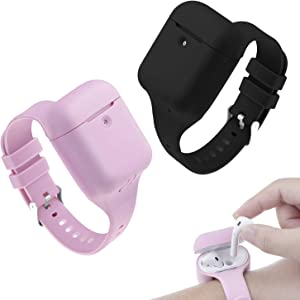 Compatible with Apple AirPods 2 Protector Silicone Band with Charging Case Protector, Full Protective Skin Cover Accessories for Airpods 1st&2nd(not for Airpods Pro)(Black&Pink)