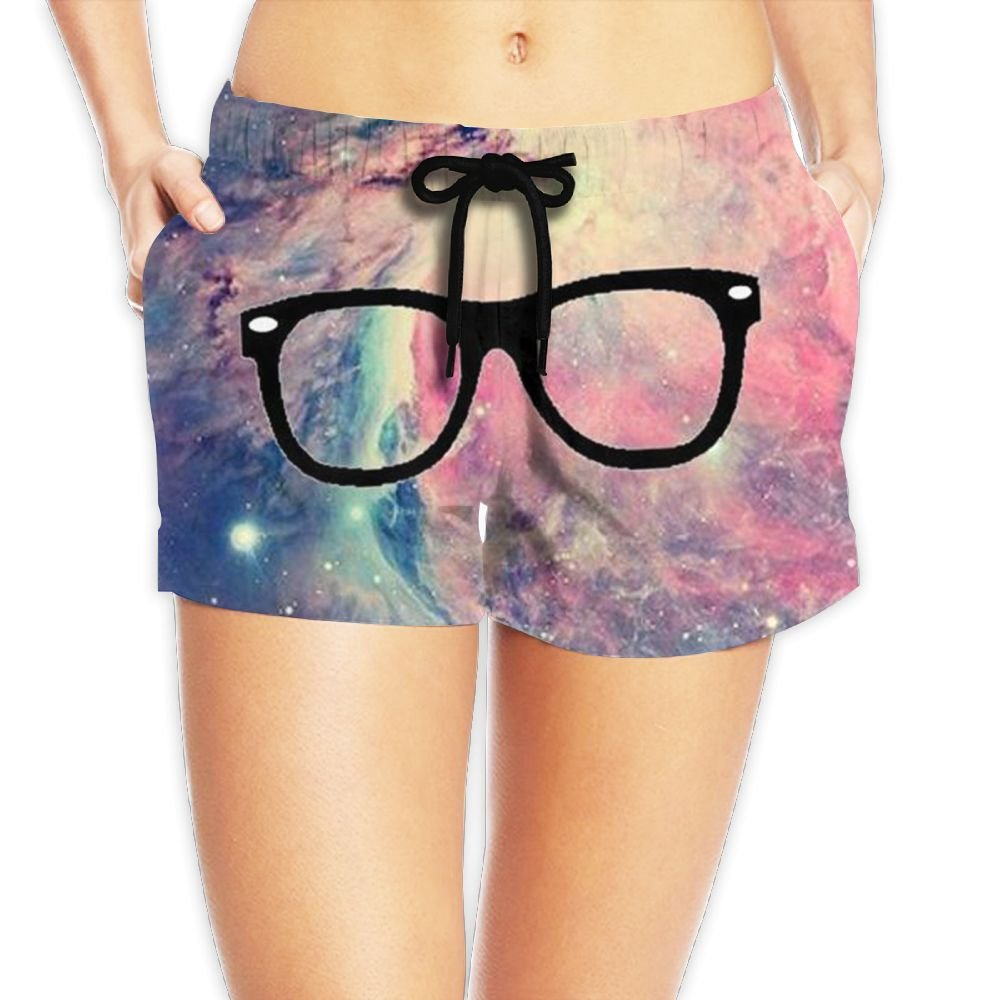 Galaxy Glasses Women's Drawstring Casual Shorts with Pockets S-XXL