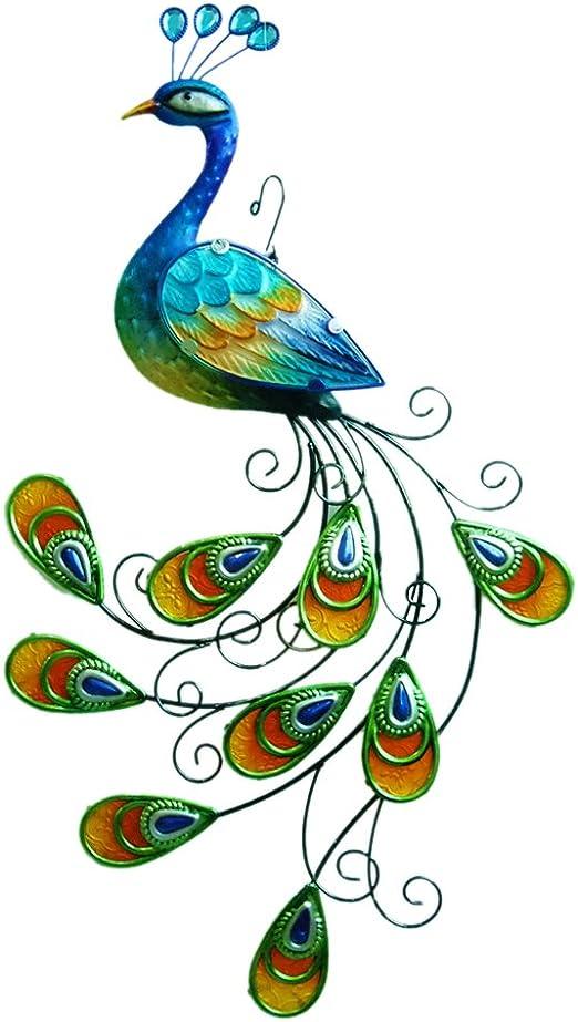 "Comfy Hour 6"" Blue Metal Art Peacock Wall Decor"