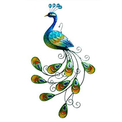 Perfect Comfy Hour 24u0026quot; Blue Metal Art Peacock Wall Decor