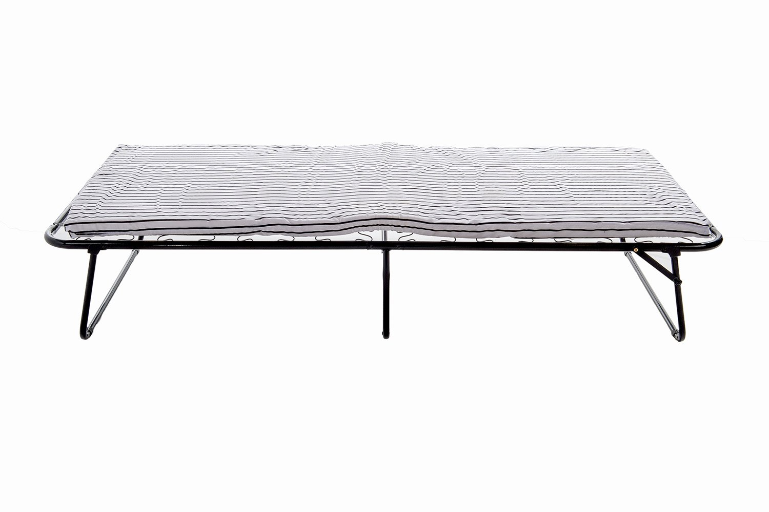 Home Source Industries, 223 Cot Bed, Folding Bed with Mattress, Black and White, L 75'' W 31'' x H 13''