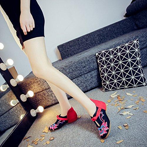 del Tela ¨¦tnico Estilo Tend¨®n Zapatos del Dentro de black xiezi lenguado Bordados Casual zl c¨®modo Aumento Zapatos Femenina Moda B1aH0q