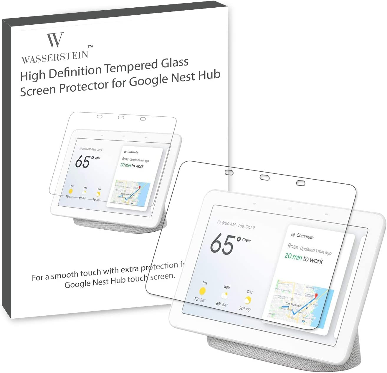 """Wasserstein 7"""" Screen Protector Compatible with Google Nest Hub - Anti-Scratch and Water Resistant Tempered Glass for Nest Hub"""