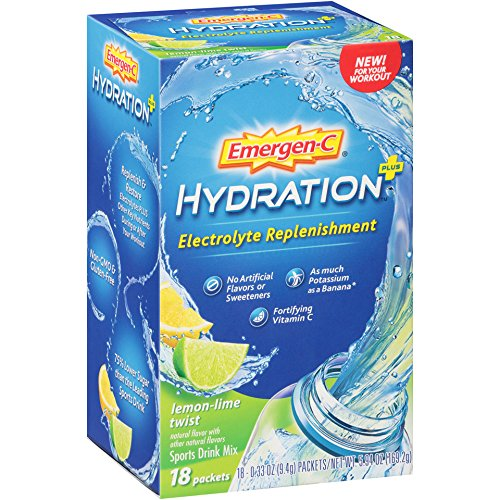 Emergen-C Hydration+ Sports Drink Mix with Vitamin C., Electrolyte Replenishment, 0.33 Ounce Packets (Lemon-Lime Twist Flavor, 18 Count)