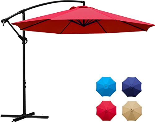 Sunnyglade 10Ft Outdoor Adjustable Offset Cantilever Hanging Patio Umbrella Red