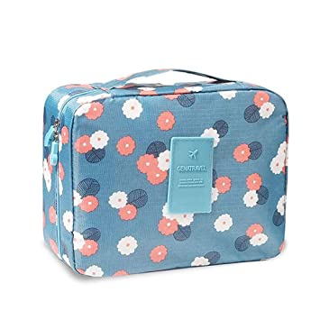 72da3e13c2 Amazon.com: Style Homez KYILE, Travel Cosmetic Makeup Carrying Pouch Bag  cum Organizer for Women, Toiletry Kit and Jewellery Organizer, Carry Blue  Floral ...
