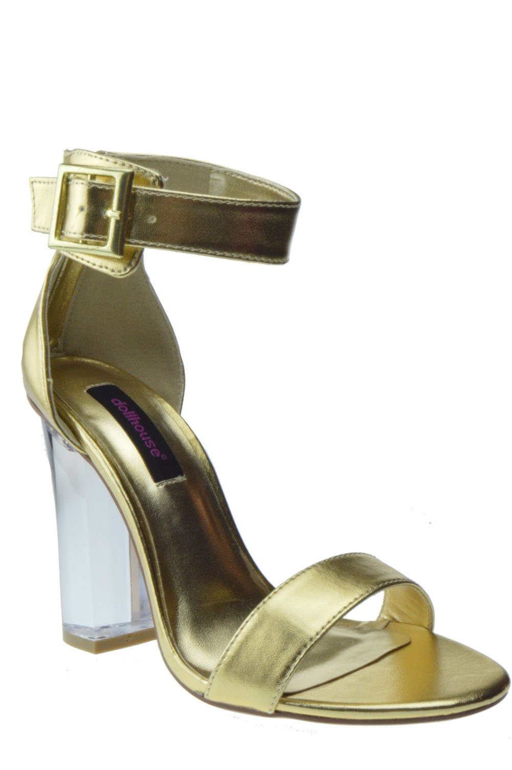 dollhouse Glass Womens Clear Chunky Heel Anckle Buckle Platform Sandals Gold 7.5