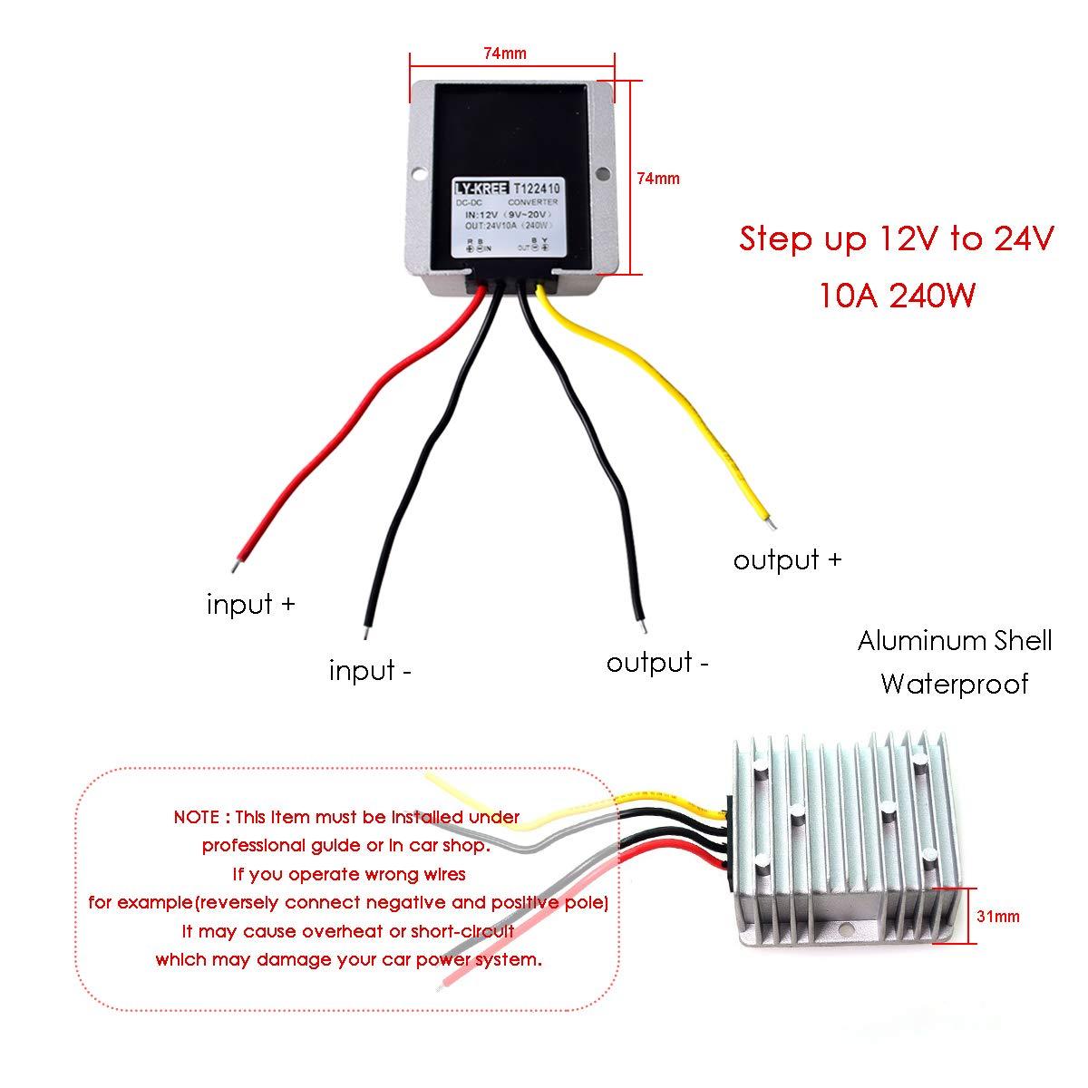 Car DC 12v to 24v Step Up Converter 5A 120W Regulator Power Supply Voltage Inverter Changer Adapter for Vehicle Boat Truck Van Boat Solar System DC 9-20V Inputs 24V Output