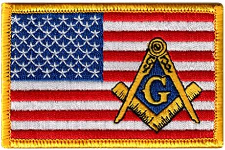 Masonic American Flag Patch Embroidered Iron-On Freemason Square Compass Emblem
