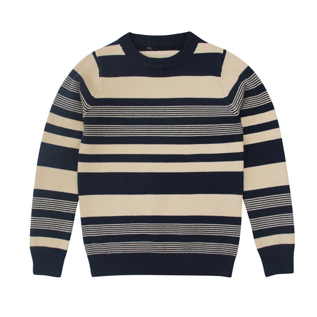 Winyersnow Children Clothing for Boy Striped Long Sleeve Knit Sweaters Pullover Yellow 5
