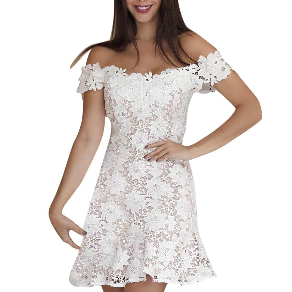 Summer Boho Dresses for Women Lace Casual Beach Sundress Evening Party Dress chaofanjiancai