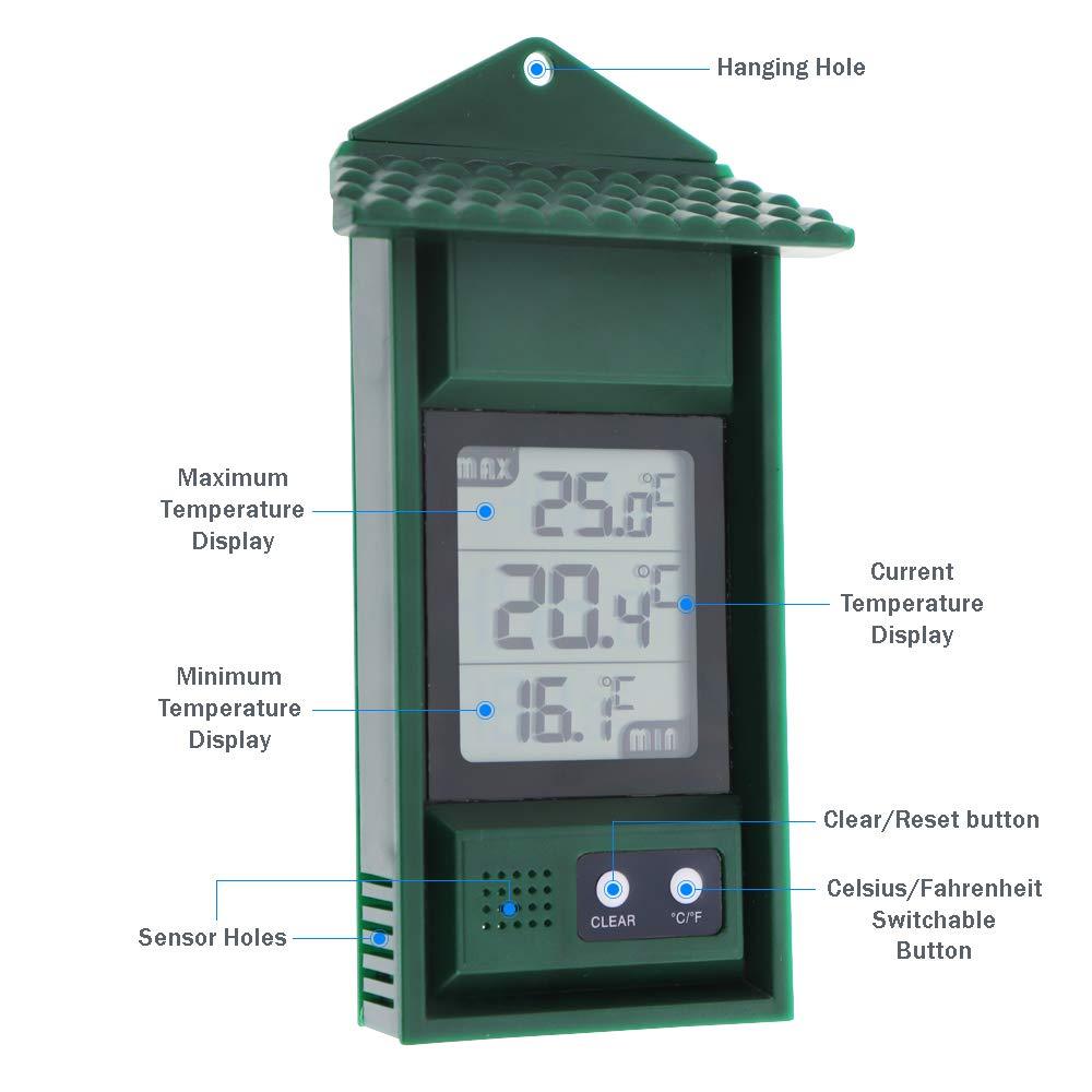 MAX Min Term/ómetro Digital se Puede Utilizar en Interiores o Exteriores Invernadero de jard/ín Invernadero Sala de Crecimiento Invernadero