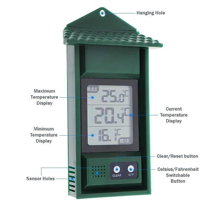 MAX Min Termómetro Digital - Invernadero de jardín Invernadero Sala de Crecimiento Invernadero, se Puede Utilizar en Interiores o Exteriores: Amazon.es: ...
