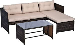 Outsunny 3-Piece Rattan Patio Furniture Sofa Set Lounge Chaise Cushioned for Garden Poolside or Porch Lounging, Brown