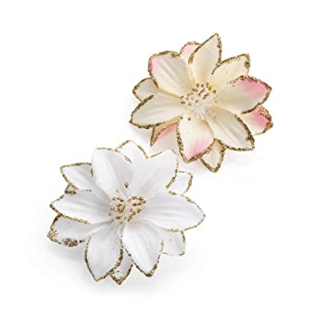 Paar weiße und rosa Ton Glitzer Rand Blumen Haar Schnabel Clips ...