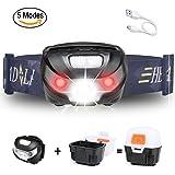 Stirnlampe LED, Outdoor Joggen Wasserdicht Stirnlampe USB Aufladbar Kopflampe, Wasserdicht Camping Lampe Beleuchtung für Nachtlese, Abenteuer, Bergsteigen, Klettern Inklusive USB Kabel von ERUW