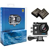 EKEN H9 4K Action Camera, Full HD Wifi Waterproof Sports Camera with 4K25/ 1080P60/ 720P120fps Video, 12MP Photo and 170 Wide-Angle Lens, includes 17 Mountings Kit, 2 Batteries