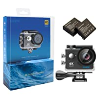 EKEN H9 4K Action Camera Wifi Waterproof Sports Camera with 2 Batteries Various Mountings Kit (Black)