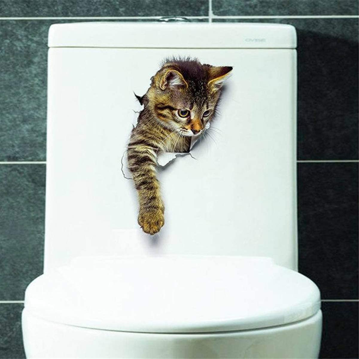 DERCLIVE 1PC 3D Hole Pop Out Cat Vivid Smashed Toilet Decal Funny Wall Sticker Bathroom Kicthen Decorative Decals Animals Poster PVC XH2002