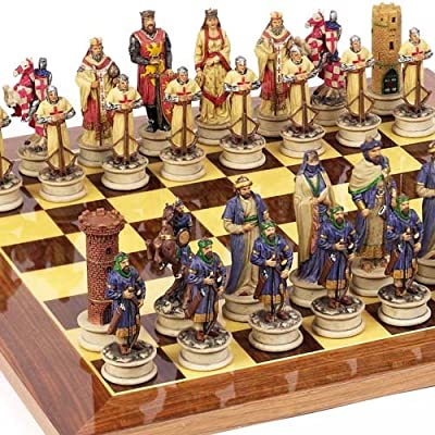 Crusade Chessmen & Columbus Avenue Chess Board From Spain Large, King: 4 1/2""