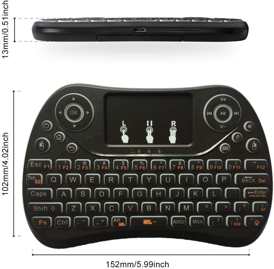 HUIFANGBU I8 Max 2.4GHz Mini Wireless Keyboard with Touchpad Rechargeable Fly Air Mouse Smart Game 3-Color Backlit
