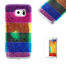 For Samsung Galaxy S6 Case, Funyye Luxury 3D Creative Liquid Shiny Quicksand Flowing Bling Glitte Stars [Glitter Rainbow] Design Flexible Soft TPU Bumper Shockproof Protection Cover for Samsung Galaxy S6 - Cross Stripe