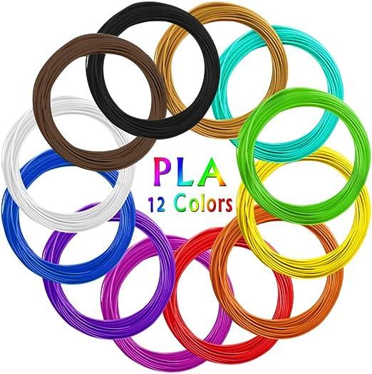 AKNMSOY - Filamento 3D para Pluma de impresión, 12 colores, 1,75 ...